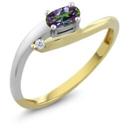 Women's Oval Green Mystic Topaz 18K Two Tone Gold Diamond Ring