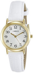 Timex Women's Carriage Analog Quartz Stainless SteelWhite Leather Watch C3C747