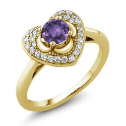 0.72 Ct Round Purple Amethyst 18K Yellow Gold Plated Silver Heart Ring
