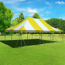20x30' Commercial Canopy Yellow White Vinyl Pole Tent Wedding Party Waterproof