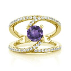 1.28 Ct Round Purple Amethyst 18K Yellow Gold Plated Silver Swirl Ring