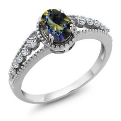 925 Sterling Silver 1.16 Ct Oval Blue Mystic Topaz White Topaz Engagement Ring