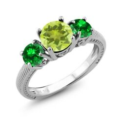 2.88 Ct Round Yellow Lemon Quartz Green Simulated Emerald 925 Silver Ring