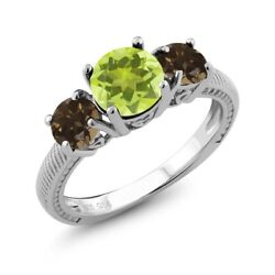 2.12 Ct Round Yellow Lemon Quartz Brown Smoky Quartz 925 Sterling Silver Ring