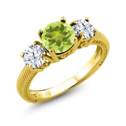 2.40 Ct Round Yellow Lemon Quartz White Topaz 18K Yellow Gold Plated Silver Ring