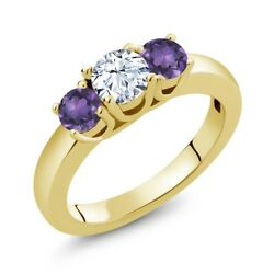 0.98 Ct Round White Topaz Purple Amethyst 18K Yellow Gold Plated Silver Ring