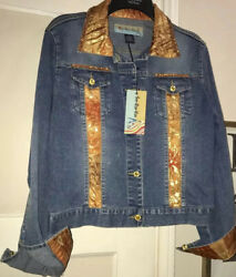 New TOO SHE SHE Jean Jacket Size Small Blue Denim Embellished Rhinestones $99