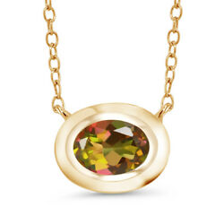 0.80 Ct Oval Mango Mystic Topaz 18K Yellow Gold Plated Silver Pendant With Chain