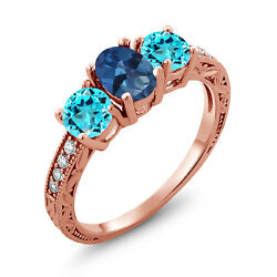 2.02 Ct Oval Blue Mystic Topaz Swiss Blue Topaz 18K Rose Gold Plated Silver Ring