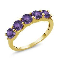 0.75 Ct Round Purple VS Amethyst 18K Yellow Gold Plated Silver Wedding Band Ring