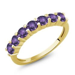 1.05 Ct Round Purple Amethyst 18K Yellow Gold Plated Silver Ring