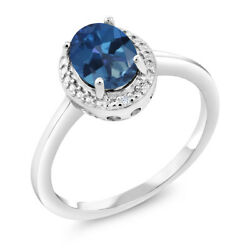 1.31 Ct Oval Blue Mystic Topaz White Diamond 925 Sterling Silver Ring