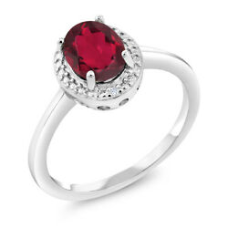 1.31 Ct Oval Red Mystic Topaz White Diamond 925 Sterling Silver Ring