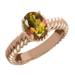 2.30 Ct Oval Mango Mystic Topaz 925 Rose Gold Plated Silver Ring