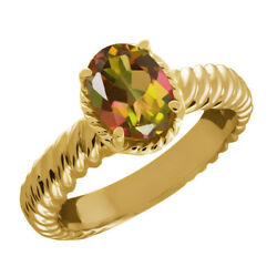 2.30 Ct Oval Mango Mystic Topaz 925 Yellow Gold Plated Silver Ring