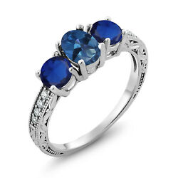 2.12 Ct Oval Blue Mystic Topaz Blue Simulated Sapphire 925 Sterling Silver Ring