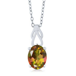 1.80 Ct Oval Mango Mystic Topaz 925 Sterling Silver Pendant With Chain