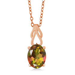 1.80 Ct Oval Mango Mystic Topaz 18K Rose Gold Plated Silver Pendant With Chain