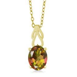 1.80 Ct Oval Mango Mystic Topaz 18K Yellow Gold Plated Silver Pendant With Chain