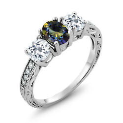 1.92 Ct Oval Blue Mystic Topaz White Topaz 925 Sterling Silver Ring