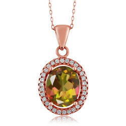 4.90 Ct Oval Mango Mystic Topaz 18K Rose Gold Plated Silver Pendant