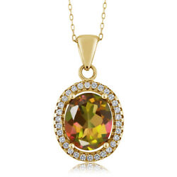 4.90 Ct Oval Mango Mystic Topaz 18K Yellow Gold Plated Silver Pendant