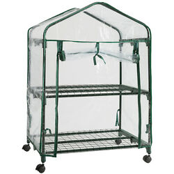 2 Tier Plant Greenhouse Garden House Mini Portable with Clear Cover Casters