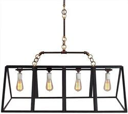 RUSTIC PENDANT CHANDELIER  HAND FORGED  4 LIGHTS  GREENHOUSE LOOK GLASS PA