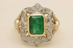 ANTIQUE SYTLE MY DESIGN 14K GOLD EMERALD AND BRILLIANT AMAZING RING