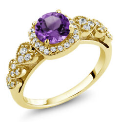 1.02 Ct Round Purple Amethyst 18K Yellow Gold Plated Silver Ring