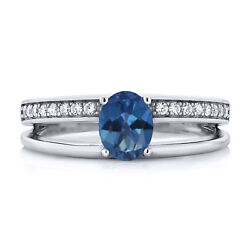 0.96 Ct Oval Blue Mystic Topaz 925 Sterling Silver Ring