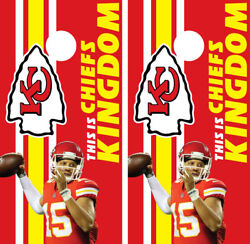 Cornhole Board Wrap Skins Vinyl KC Kansas City Chiefs Mahomes Kelce Hill Kingdom