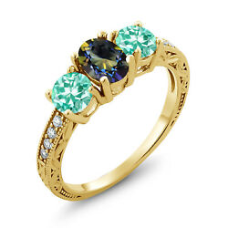 1.91 Ct Oval Blue Mystic Topaz Blue Apatite 18K Yellow Gold Plated Silver Ring