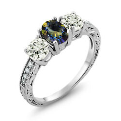 925 Silver Ring Oval Blue Mystic Topaz Created Moissanite KLM 1.00ct DEW