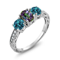2.22 Ct Oval Green Mystic Topaz London Blue Topaz 925 Sterling Silver Ring