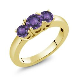 4.48 Ct Round Purple Amethyst 18K Yellow Gold Plated Silver Ring