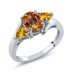 2.00 Ct Oval Ecstasy Mystic Topaz and Citrine 925 Sterling Silver Women's Ring