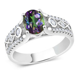 1.86 Ct Oval Green Mystic Topaz 925 Sterling Silver Ring