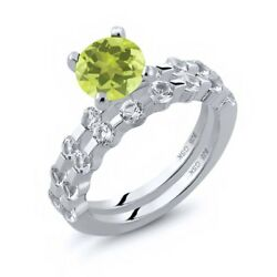 2.48 Ct Round Yellow Lemon Quartz White Topaz 925 Sterling Silver Ring Set