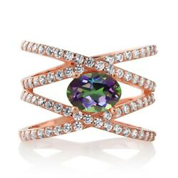 2.23 Ct Oval Green Mystic Topaz 18K Rose Gold Plated Silver Criss Cross Ring