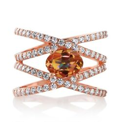 2.23 Ct Oval Ecstasy Mystic Topaz 18K Rose Gold Plated Silver Criss Cross Ring