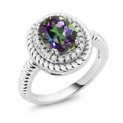1.80 Ct Oval Green Mystic Topaz 925 Sterling Silver Ring