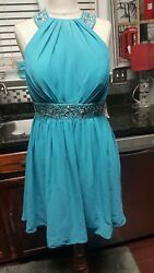 Teal Cocktail Chiffon JJ#x27;s House Size Women#x27;s 10 Solid Strap $39.99