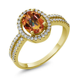 2.06 Ct Oval Ecstasy Mystic Topaz 18K Yellow Gold Plated Silver Ring