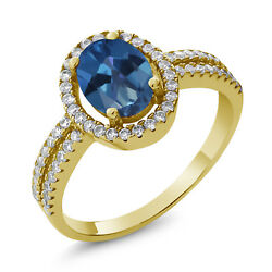 2.06 Ct Oval Blue Mystic Topaz 18K Yellow Gold Plated Silver Ring
