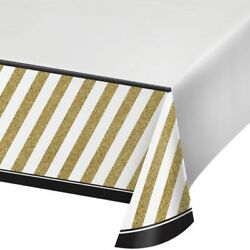 Black and Gold Plastic Banquet Tablecloth Birthday Party Decorations $4.29