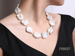 Classic White 25-35mm Baroque Freshwater Cultured Pearl Necklace Jewelry 20