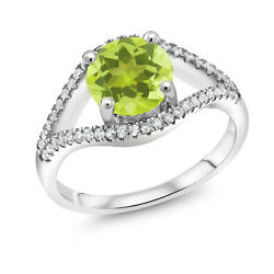 2.35 Ct Round Yellow Lemon Quartz 925 Sterling Silver Ring