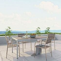 Modway Furniture Shore 5 Piece Outdoor Patio Aluminum Dining Set in Silver Gray