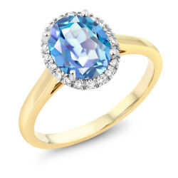 10K Two-Tone Gold Oval Blue Mystic Quartz and Diamond Engagement Ring 1.80 Ct